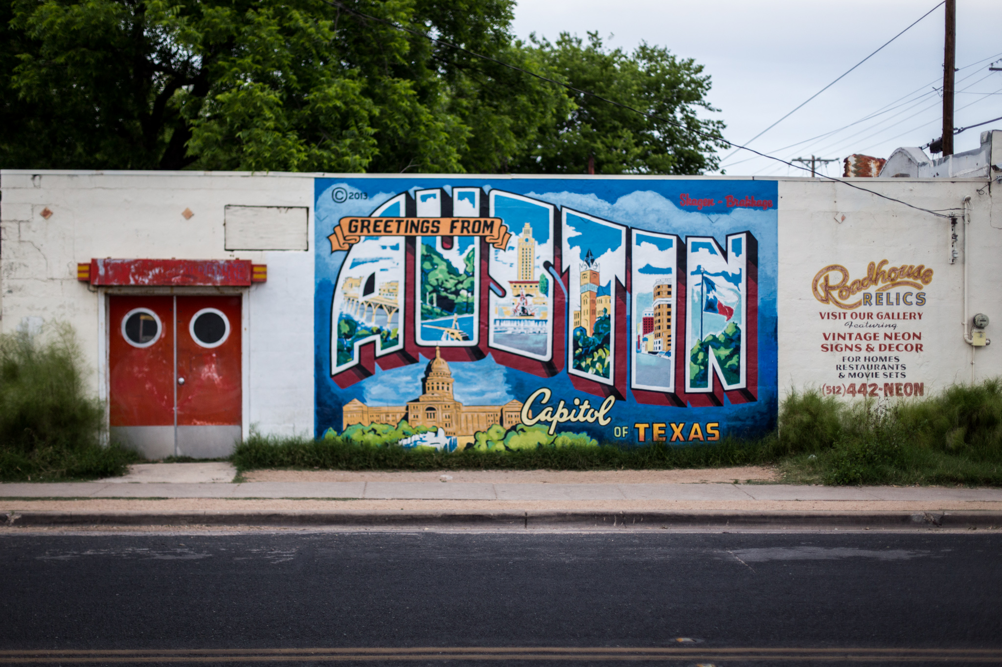 Roadhouse Relics - Greetings From Austin mural. This little icon is about 2 houses down from us. How cool is that?