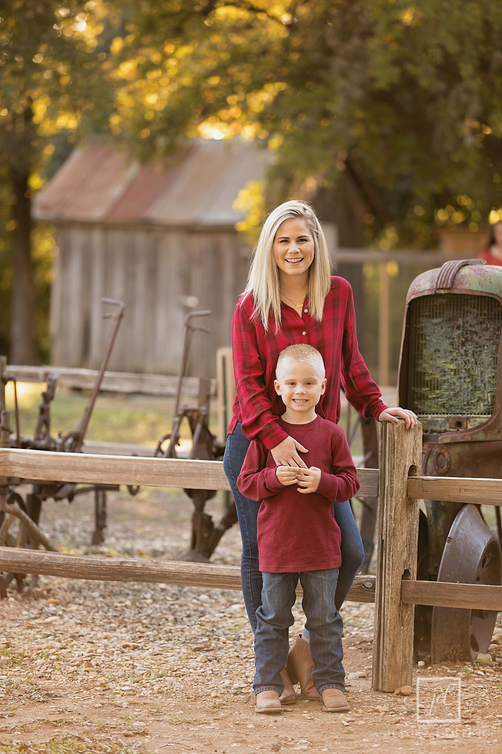 mom and son at barn, old settlers park