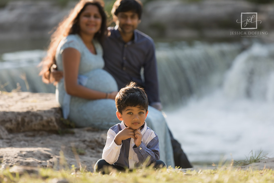 maternity session with son at memorial park