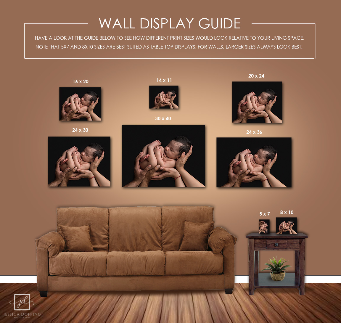 Wall display showing different size prints.