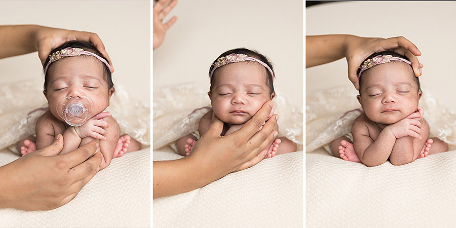 froggy newborn pose showing safety