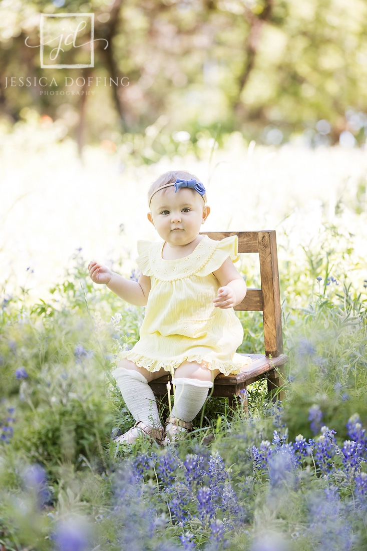 baby on chair bluebonnets