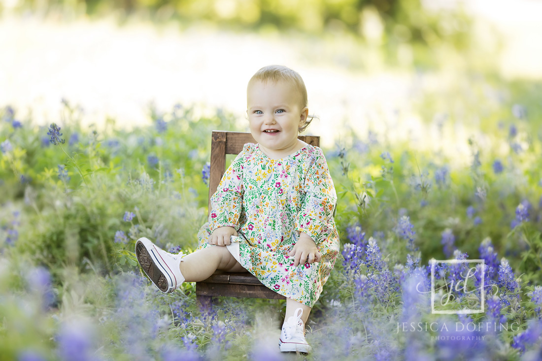 baby girl chair bluebonnets