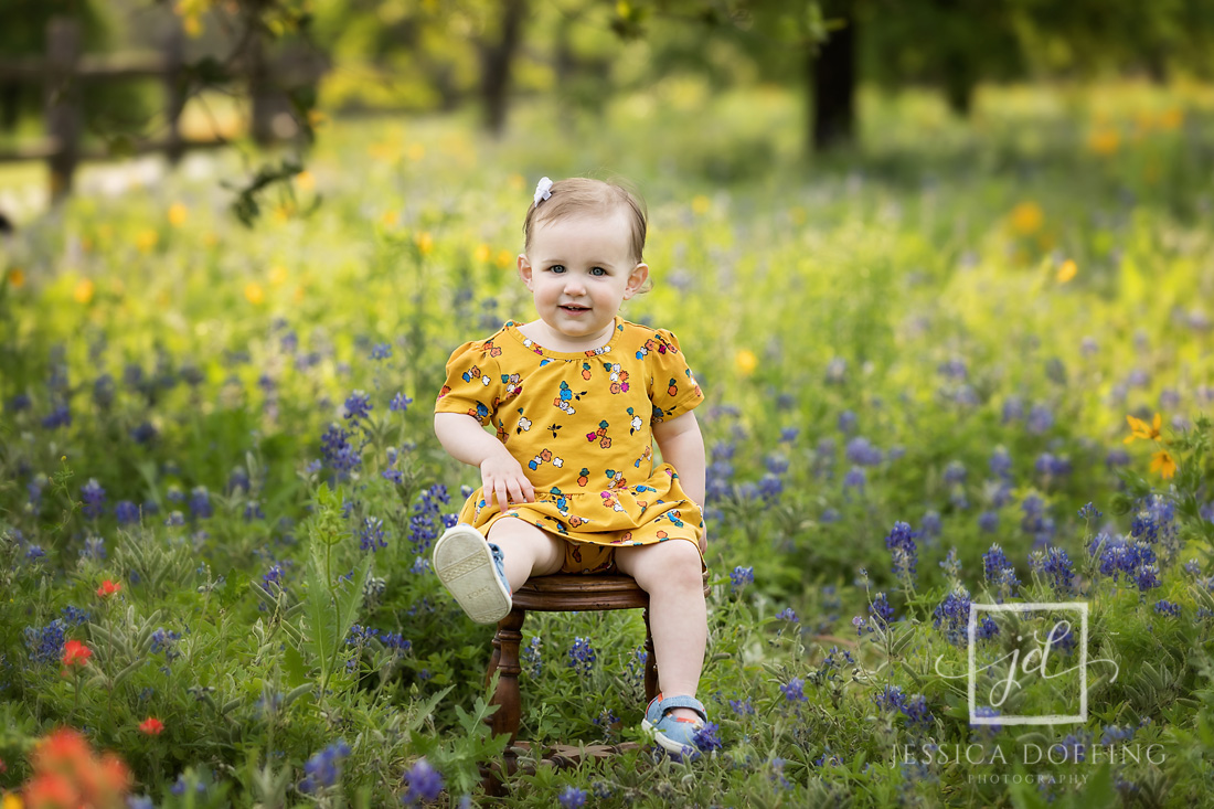 girl on chair austin texas bluebonnets