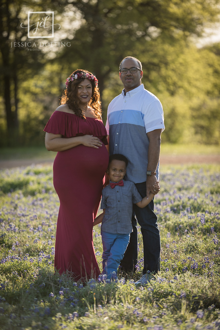 brushy creek maternity family bluebonnets