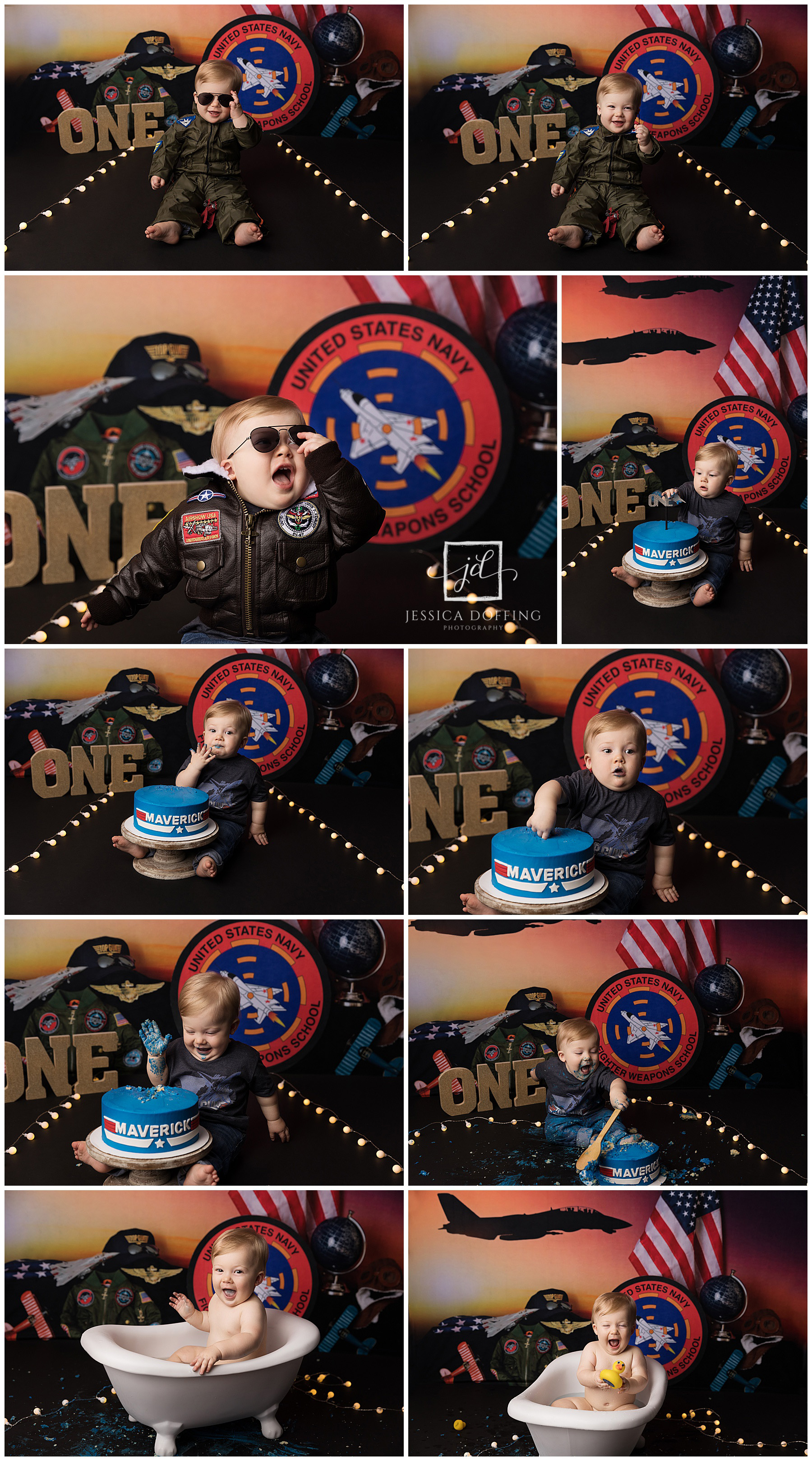 top gun cake smash