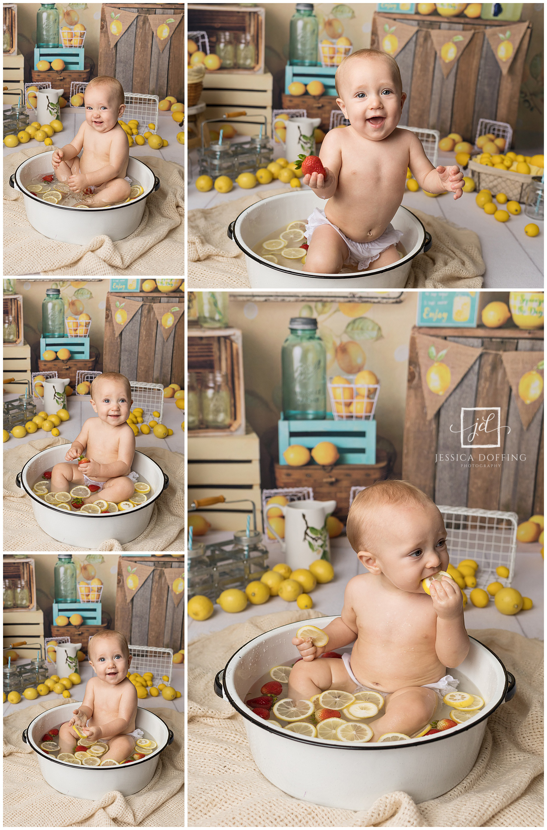 baby lemon strawberry fruit bath