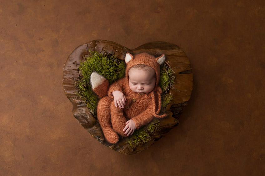 baby newborn box in heart prop