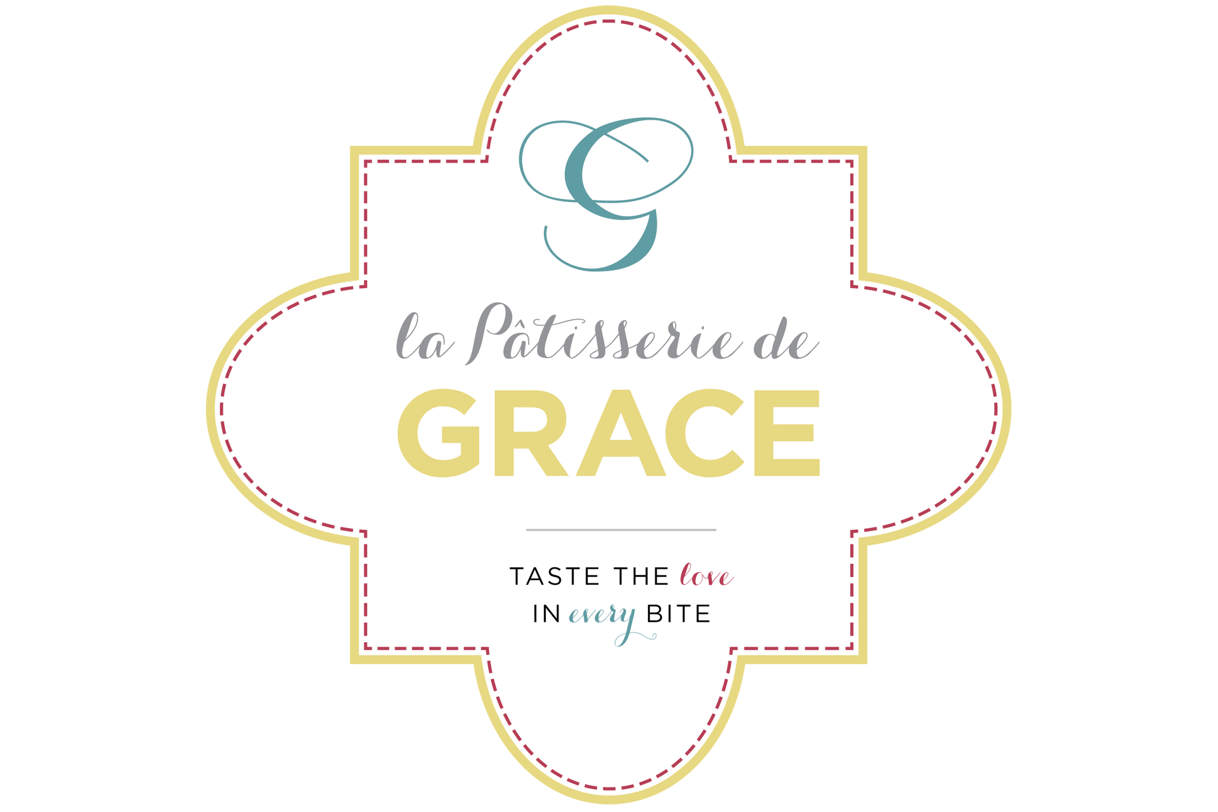 New branding,logo and tagline for La Patisserie de Grace, taste the love in every bite.