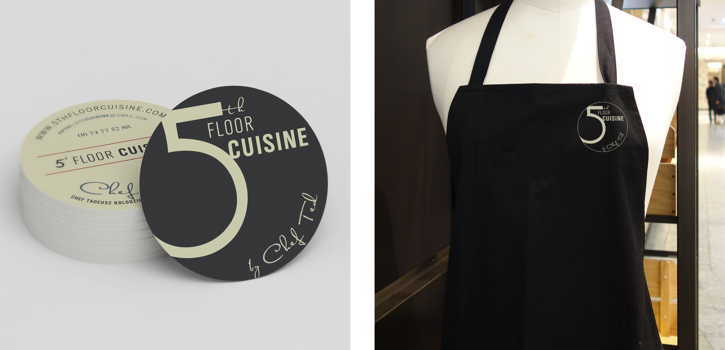 5th Floor Cuisine business cards and apron