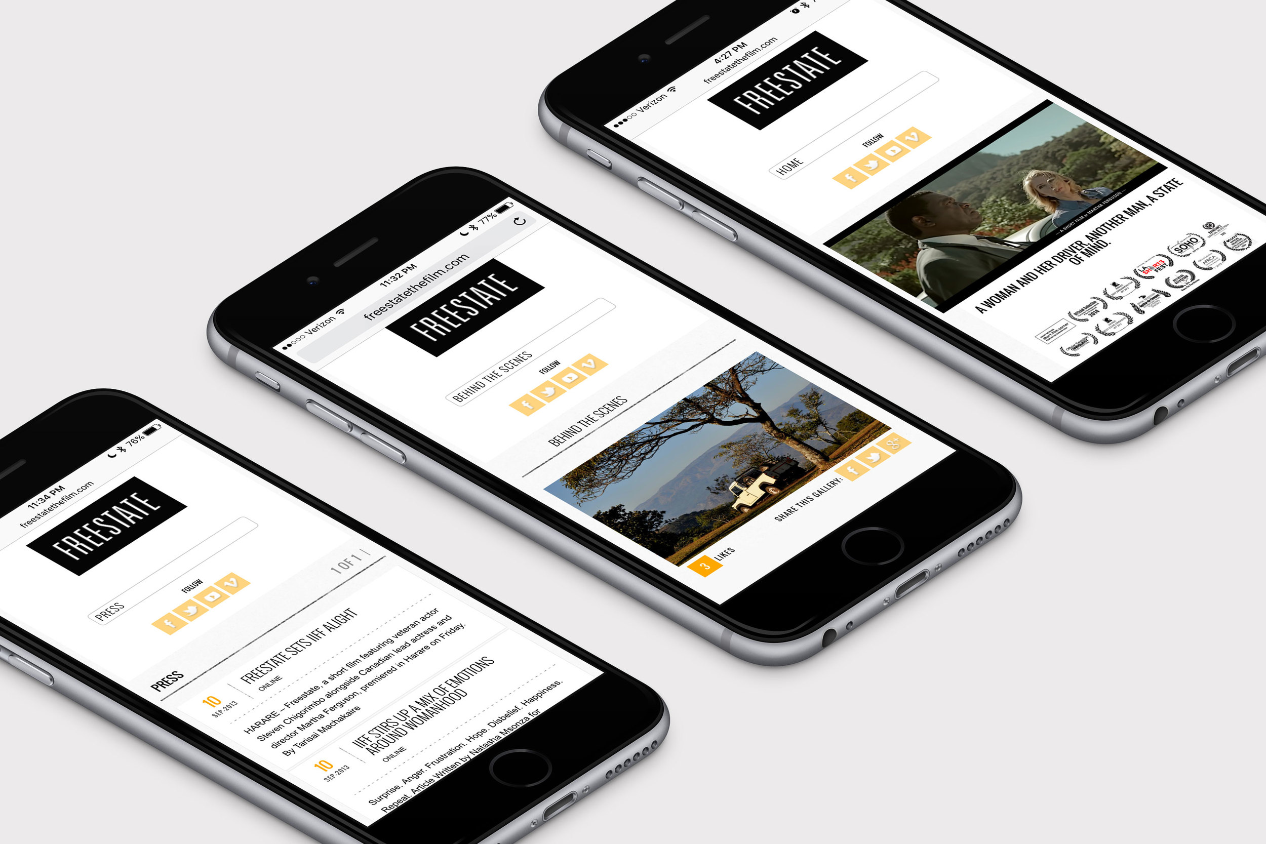 Mobile version of the website for Freestate, a short film