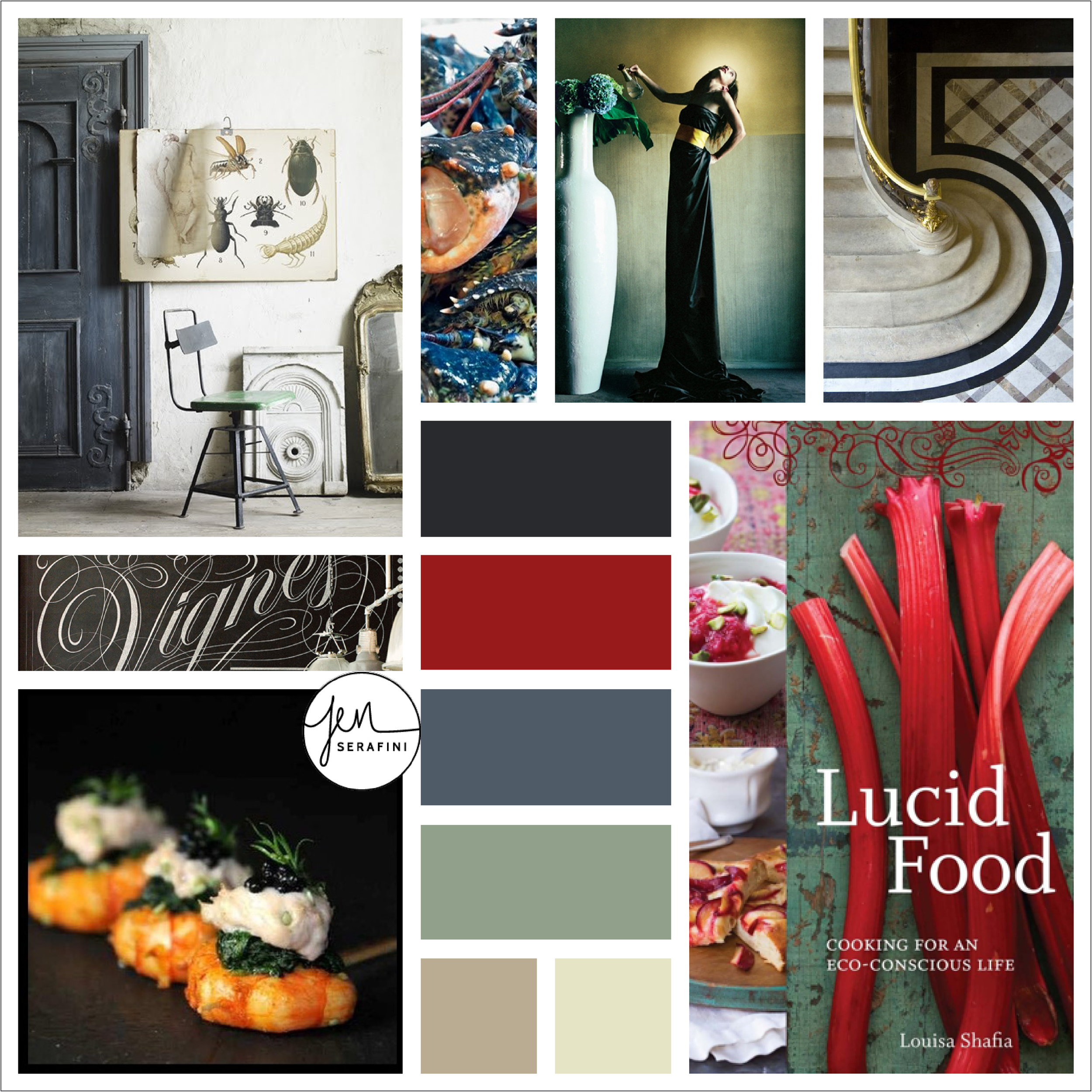 Mood board for 5th Floor cuisine branding