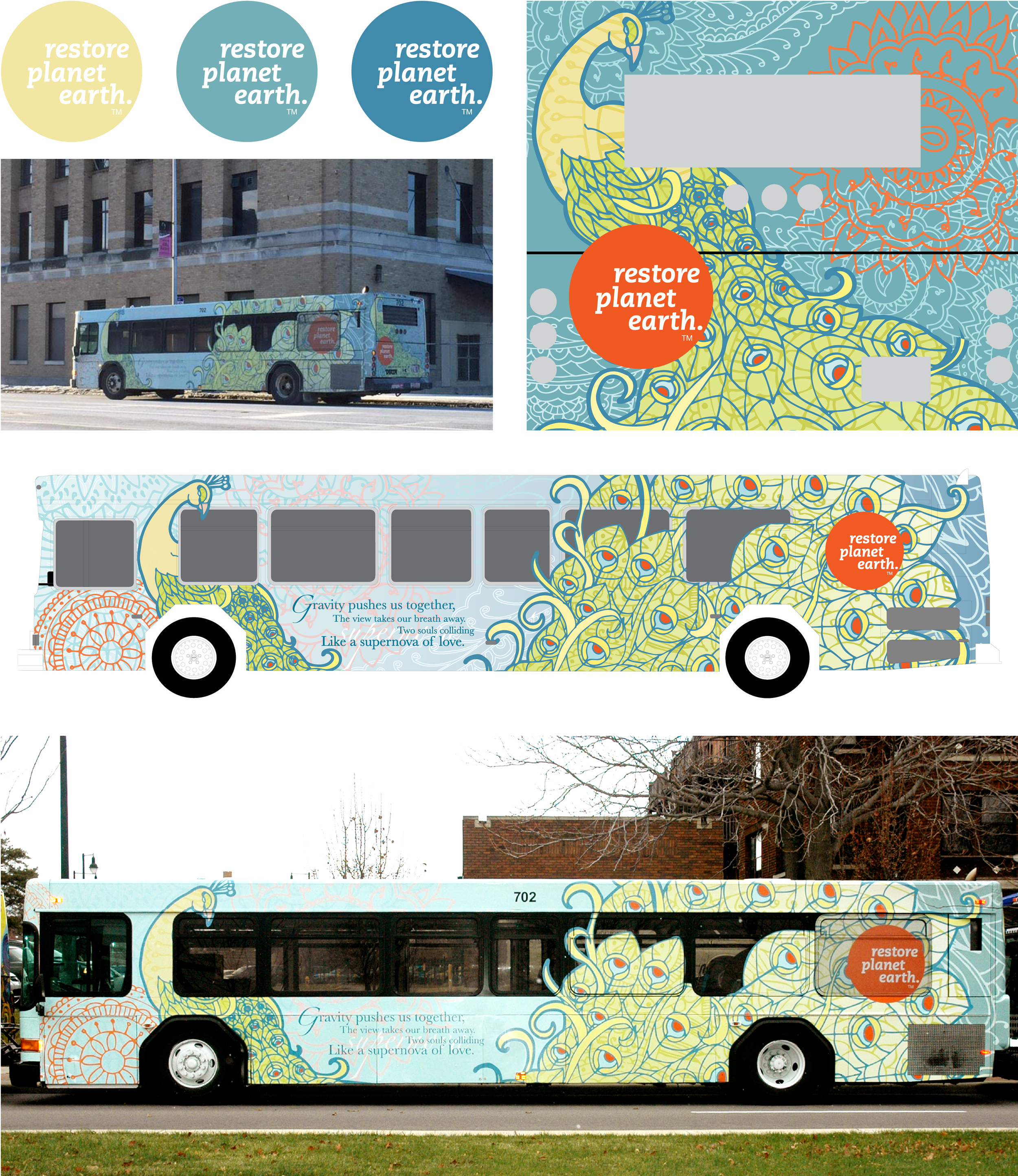 Art in TARTA   selected 2 designs, which are still currently driving around Toledo, Ohio. I had the freedom to illustrate the message in any way, with the only requirement of using their logo    on the bus,   in the color palette I chose. These photos show my final illustrations that were submitted and approved by the committee, as well as the buses after the bus wrap was placed on their normal city bus.