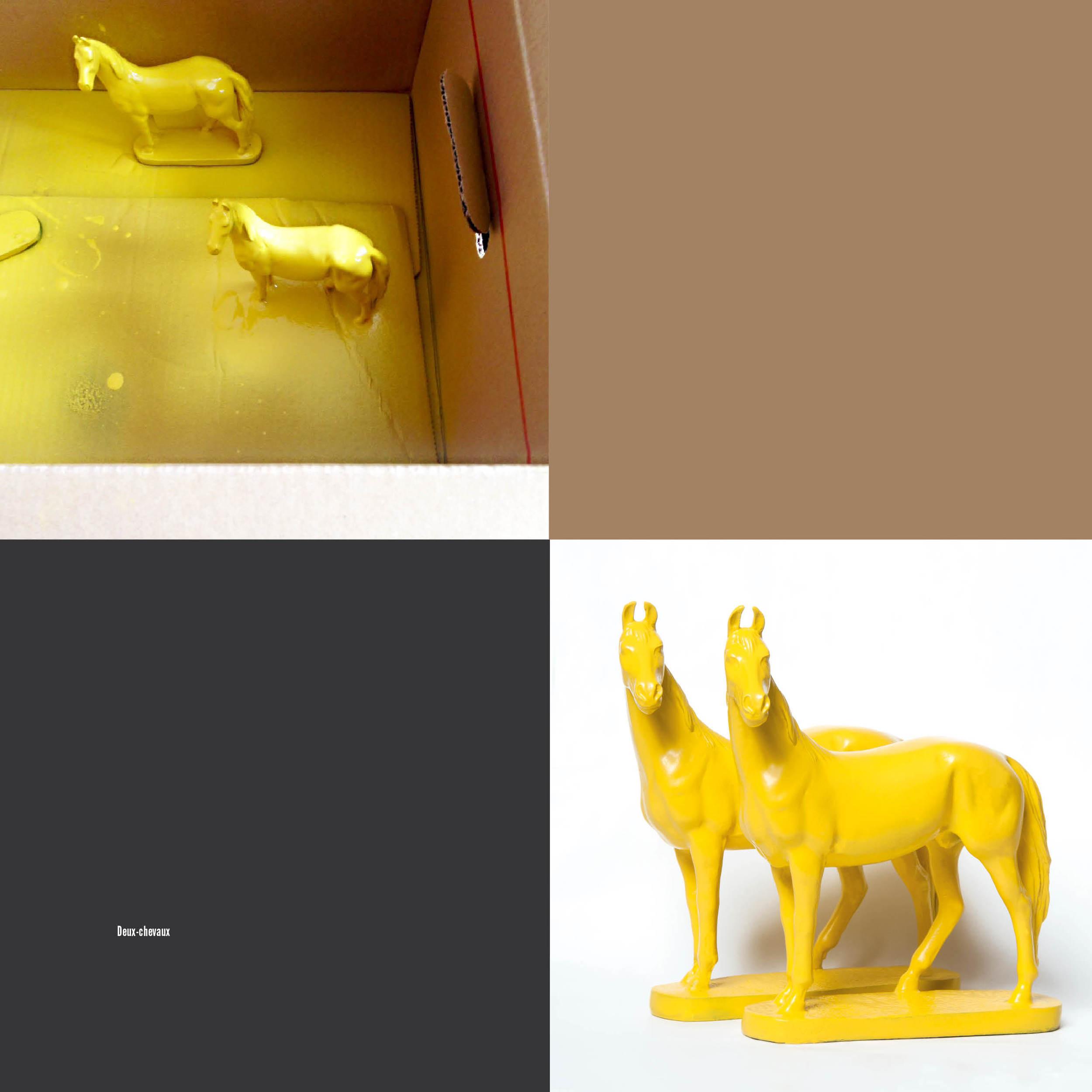 Het geel spuiten van de paarden in een kartonnen doos, hier nog met een afgebroken onderkantje.