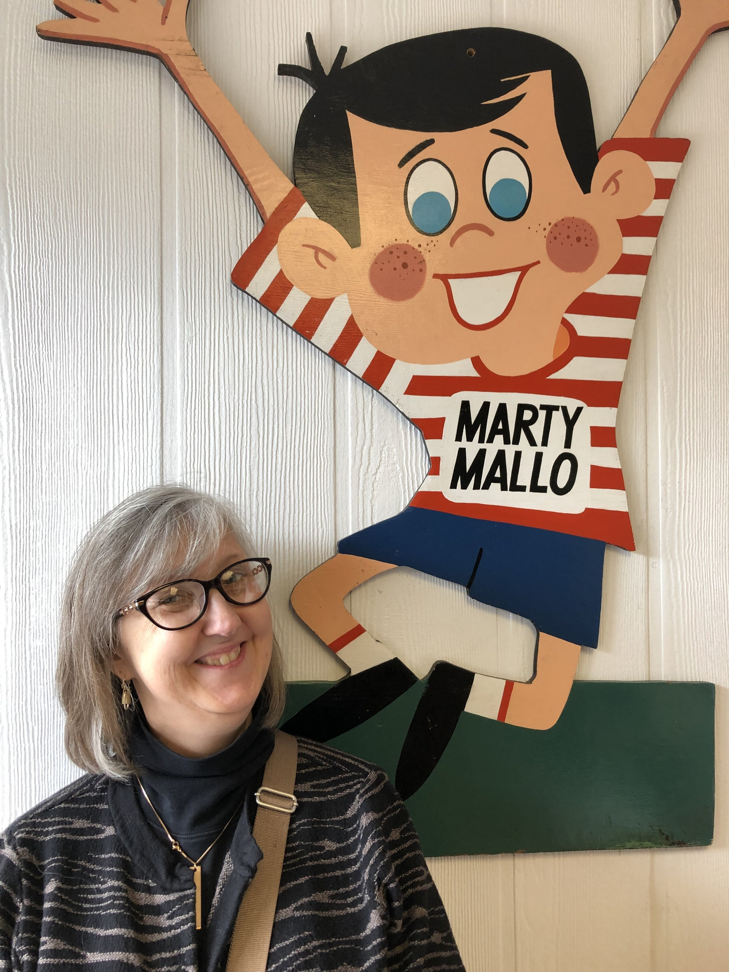 Sarah with Marty Mallo at the Mallo Cup and Clark Bar factory (Boyer Candy Company) in Alatoona, Pennsylvania.