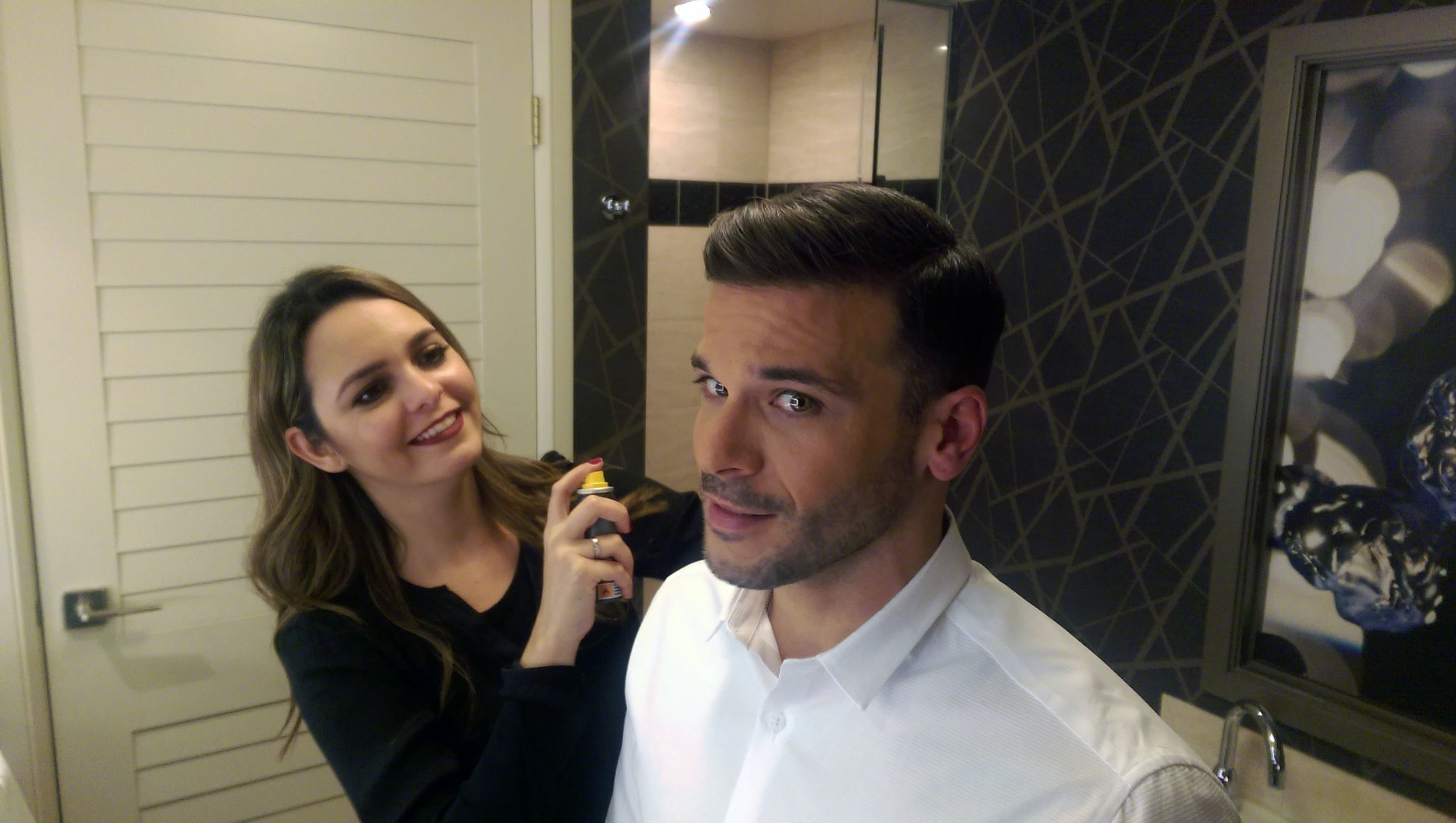 Pedro Capó getting ready for the Latin Grammys