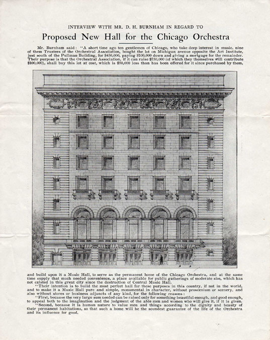 Fundraising brochure for the new Orchestra Hall, 1903