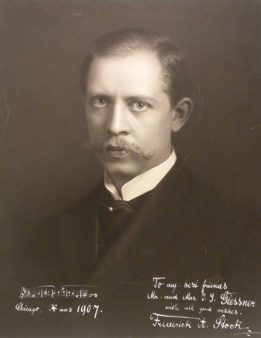 """Frederick Stock, Music Director, 1905-1942. Photo inscribed """"To my best friends,Mr. and Mrs. J. J. Glessner"""""""
