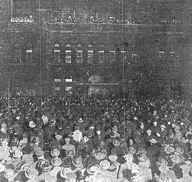 Crowd facing the Chicago Athletic Association