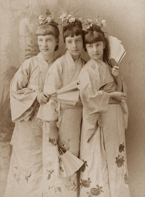 "Ethel Field (at center) with friends Alice Keith and Florence Otis, as the ""Three Little Maids"""