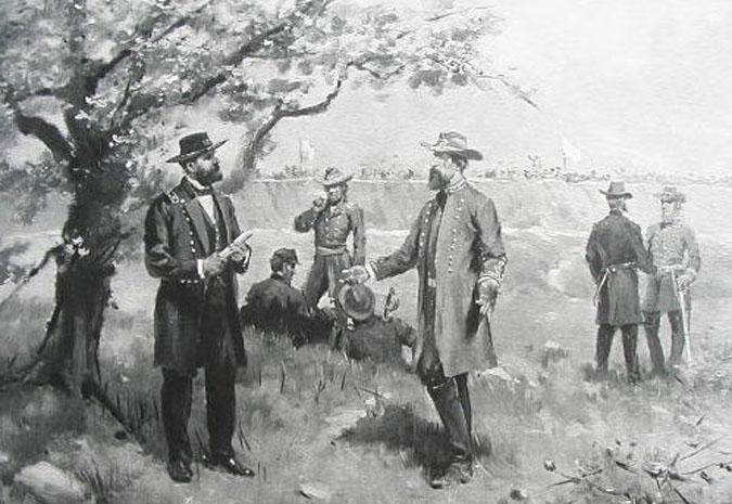 Pemberton's surrender to Grant at Vicksburg, note tree at left