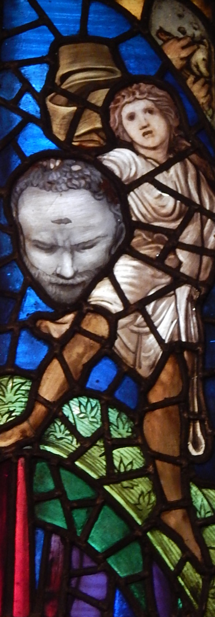 William Morris as the head of Goliath (detail from upper right of window)