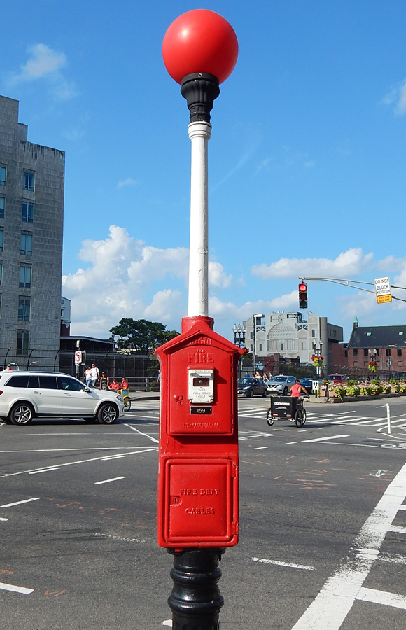 Fire alarm box on Boylston Street; side of building visible at far right.