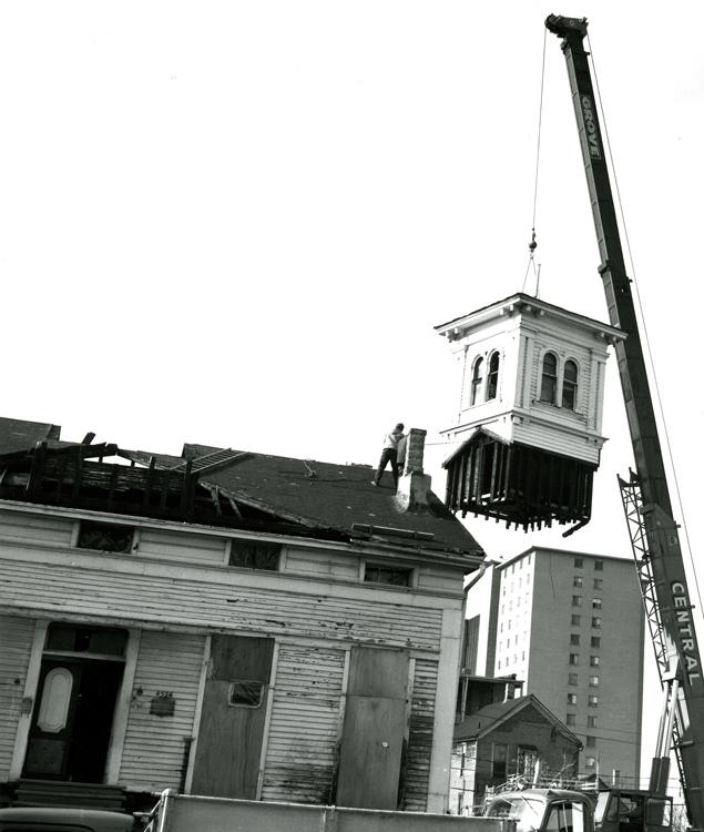 Removal of cupola, November 1977