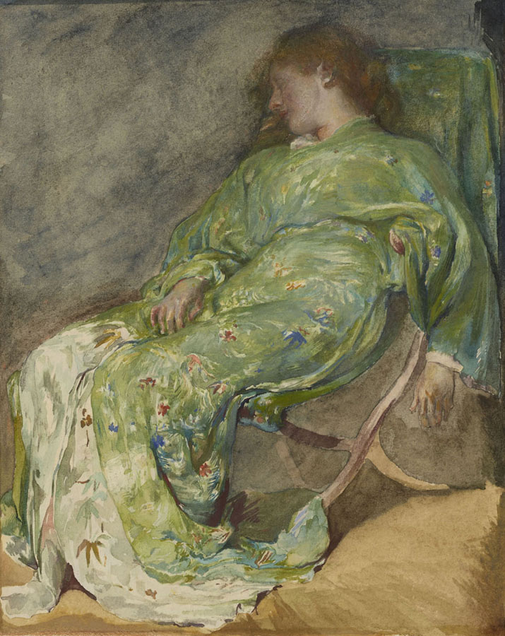 John La Farge, Sleep, 1884-1885, watercolor on paper, 8 in. x 6 1/2 in. (20.32 cm x 16.51 cm), The Lunder Collection, Accession Number: 011.2011, Colby College Museum of Art