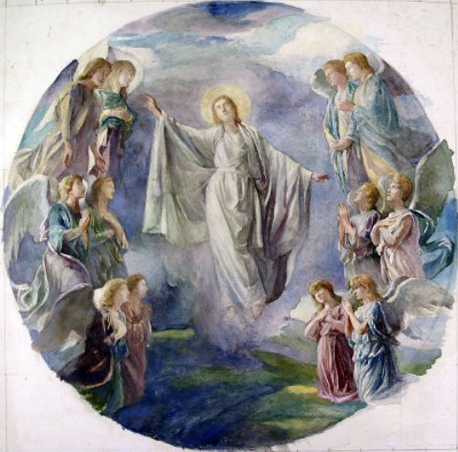 La Farge's watercolor study for the Ascension window, Second Presbyterian Church