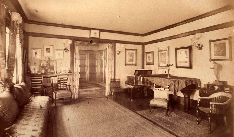 Glessner parlor, 1888. Sleep is show at left centered over the music cabinet.