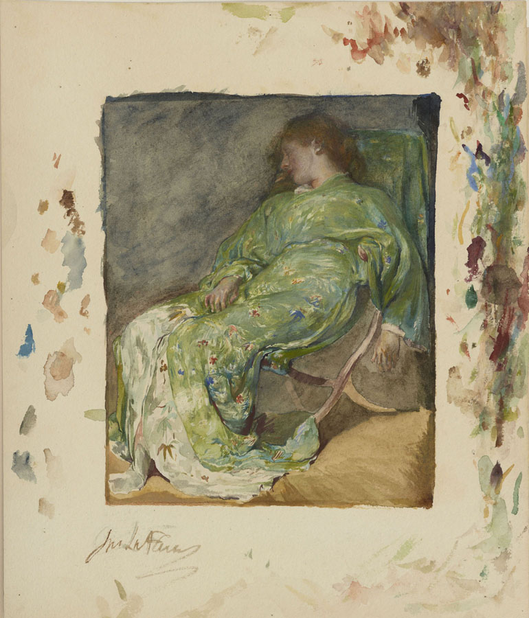 John La Farge, Sleep, 1884-1885, watercolor on paper, 8 in. x 6 1/2 in. (20.32 cm x 16.51 cm), The Lunder Collection, Accession Number: 011.2011, Colby College Museum of Art. This image shows the full sheet with the artist's brush wipe marks and signature, concealed by the mat when framed.