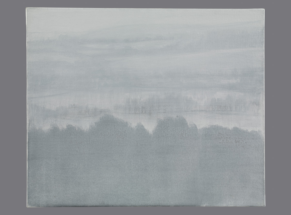 Brume matinale (matin du Perche). Fusain et acrylique sur toile. 54x65 cm. 2015