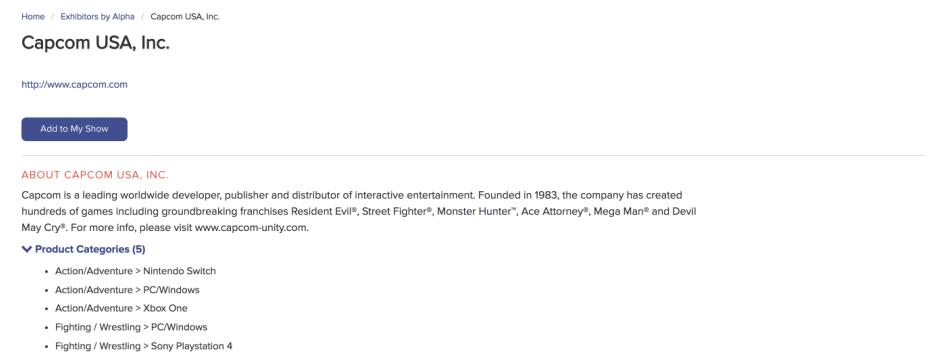 Capcom's listing on the E3 2018 Exhibitor Directory