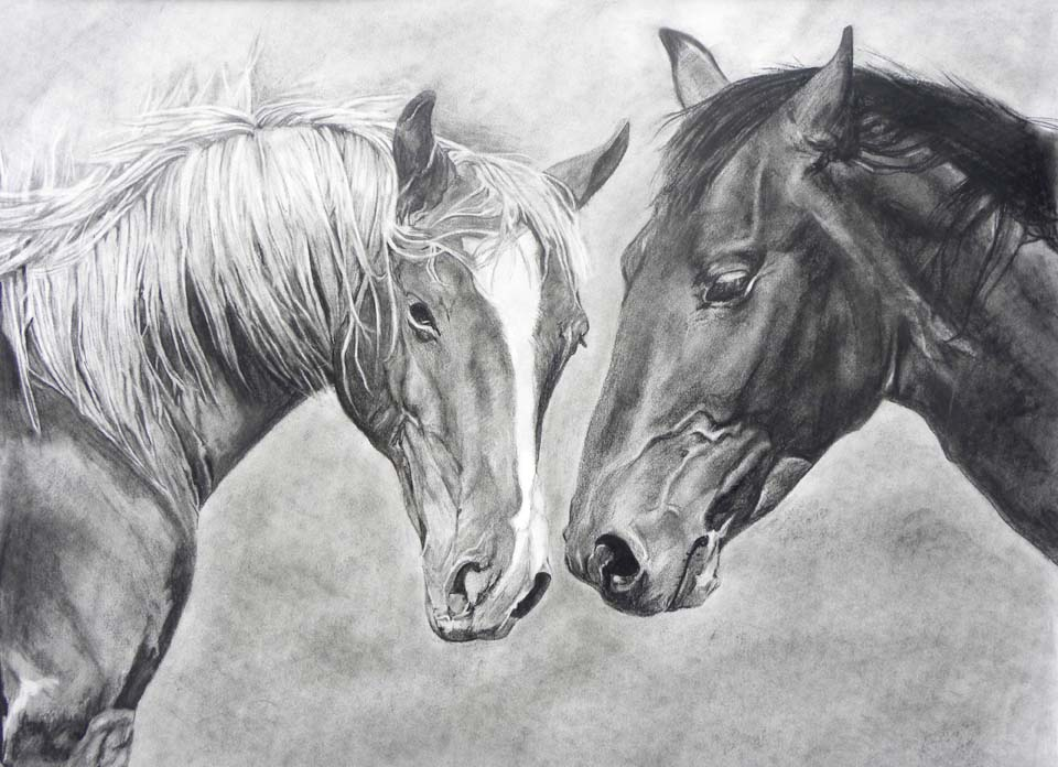 "Two Horses, 18""x24"""