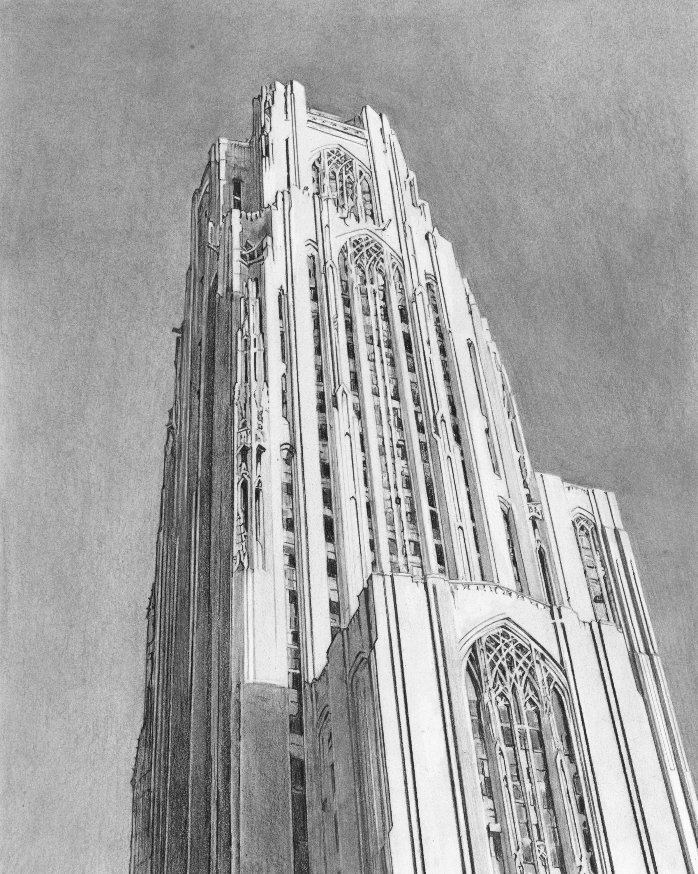 "University of Pittsburgh Cathedral of Learning, 8""x10"""