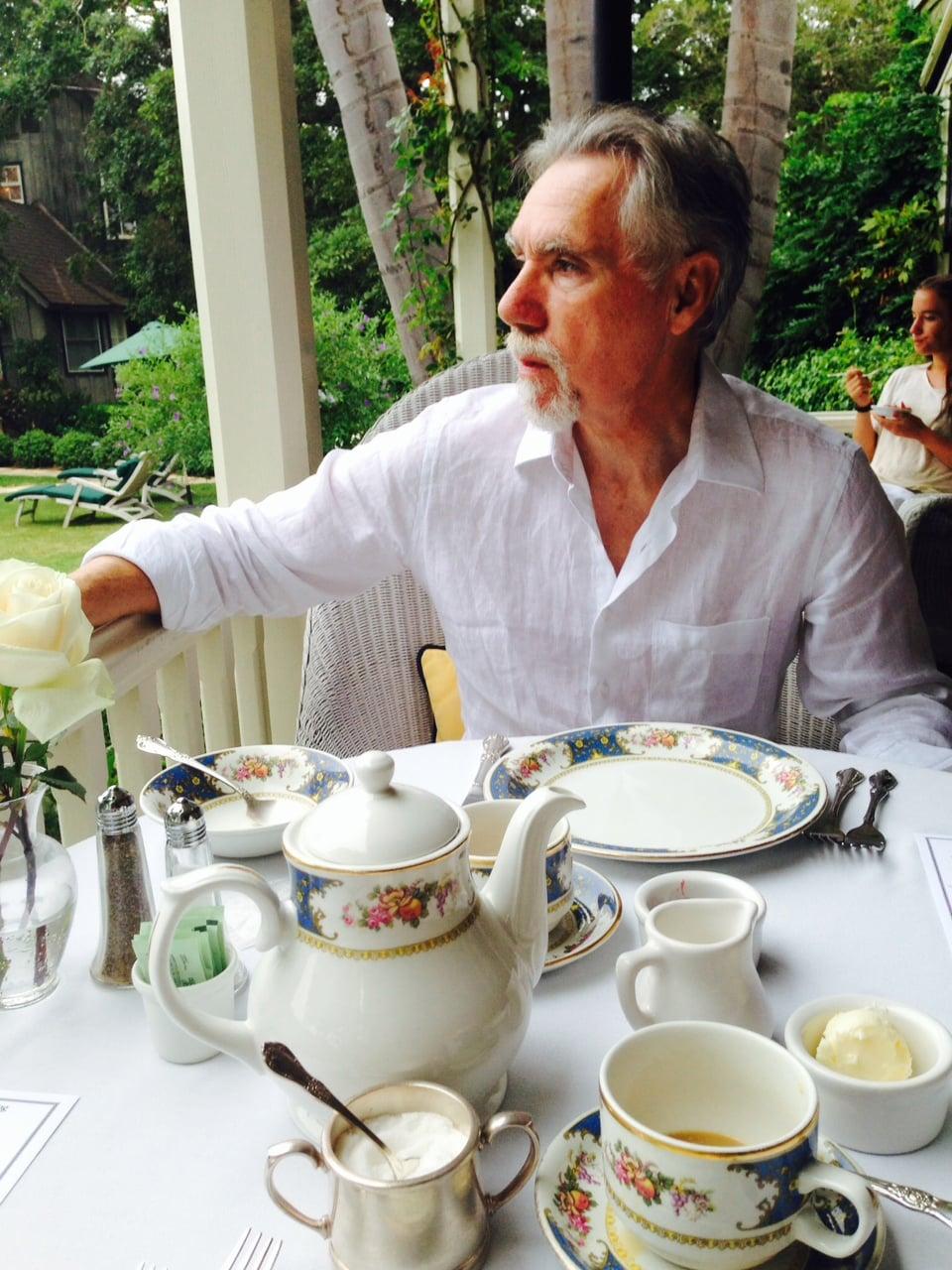 Martin enjoying tea on the veranda of the  Simpson House Inn