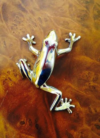 Polished steel  frog cabinet pull  from Martin Pierce hardware Photo Doug Hill