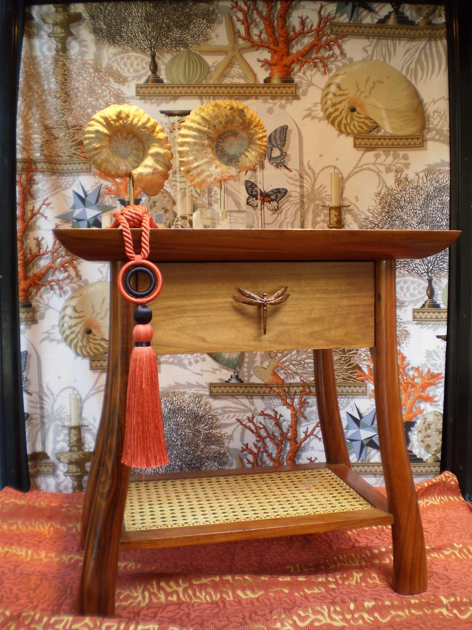 Mahogany nightstand outfitted with dragonfly drawer knob from Martin Pierce Hardware Los Angeles CA    Egg&Dar t Denver Colorado
