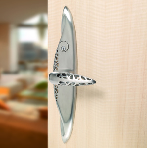 Entry door lever style handle in brushed stainless  steel finish by Martin Pierce Hardware Los Angeles CA Photo Doug Hill