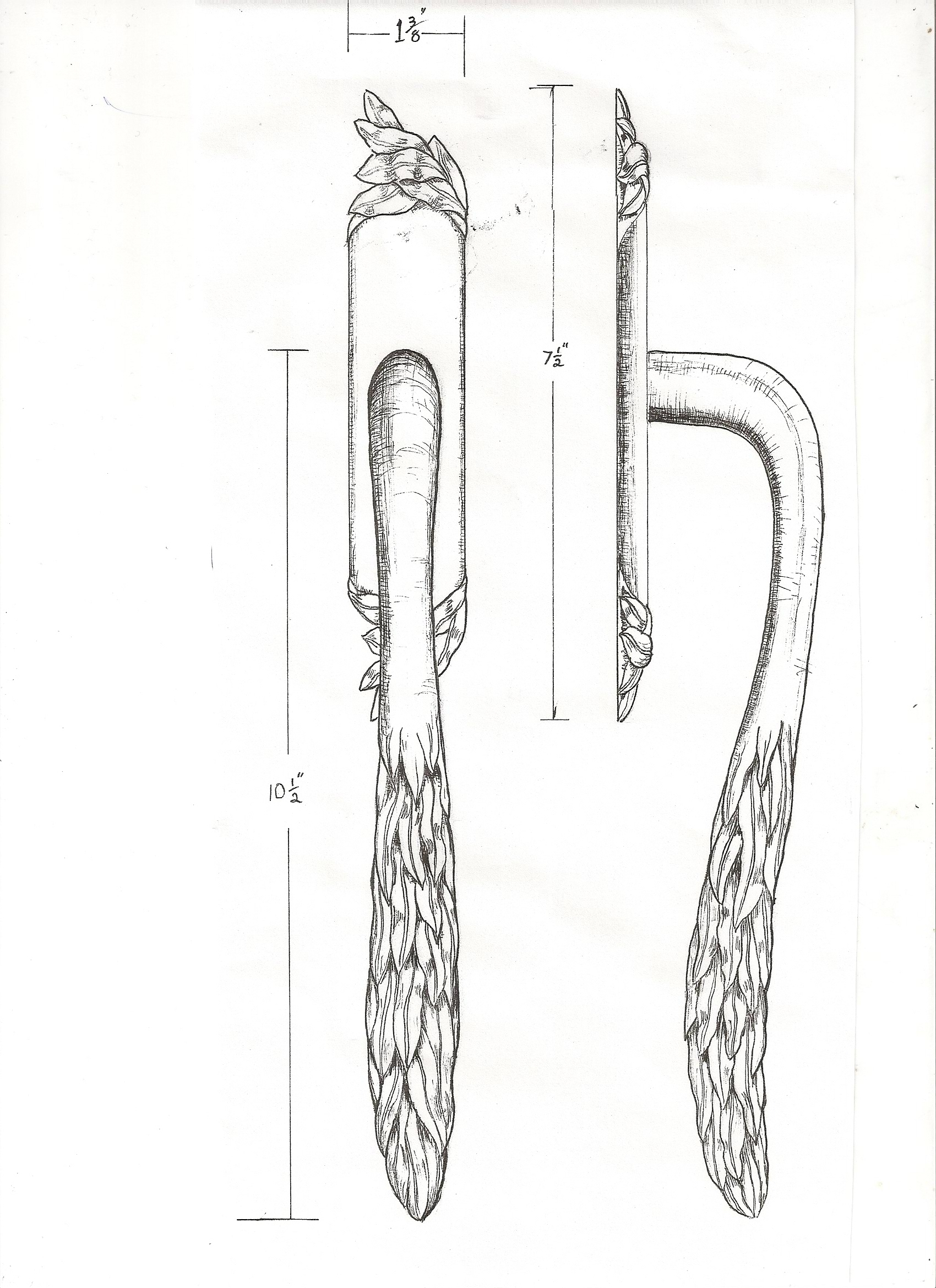 Sketch for entry door handle for Willow collection of hardware by Martin Pierce Hardware Los Angeles CA 90016