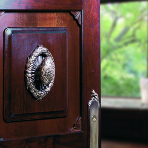Rose and door knob from  Willow collection  Martin Pierce Hardware Los Angeles CA  Photo Doug Hill