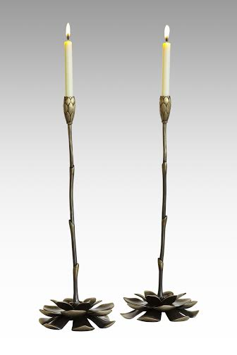 Bronze candlesticks  by Martin Pierce Hardware Los Angeles CA 90016  Photo Doug Hill