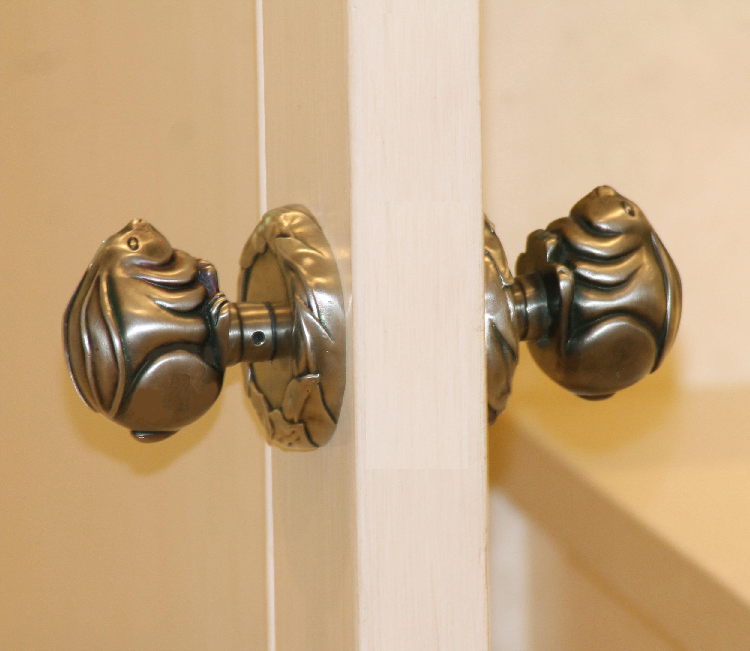 Custom Nickel Plated Bronze Bunny Door Knob