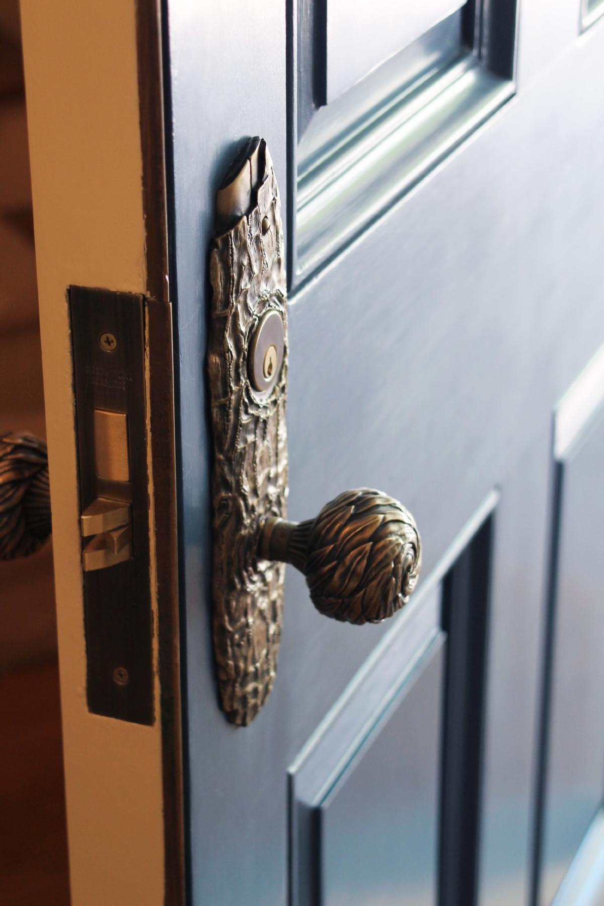 One of a kind custom door set in bronze
