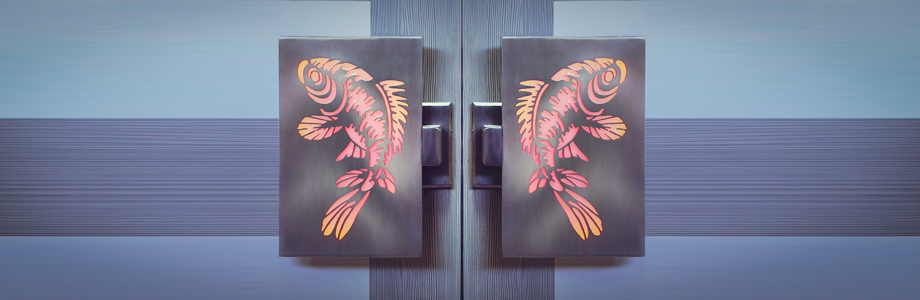 ILLUMINATED FISH DOOR HANDLES  Artistic LED illuminated door handles for bars, restaurants or homes   Fish Door Handles