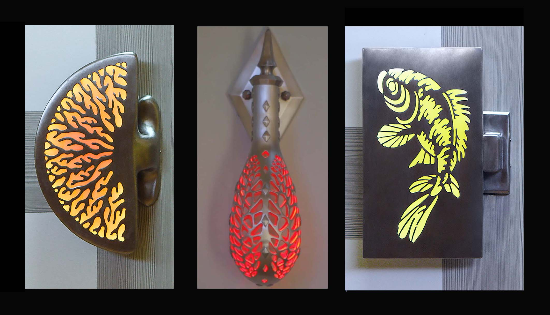 Illuminated Door Pulls LED Spot for Dragon Egg Sconce & LED color changing for Panel Handles