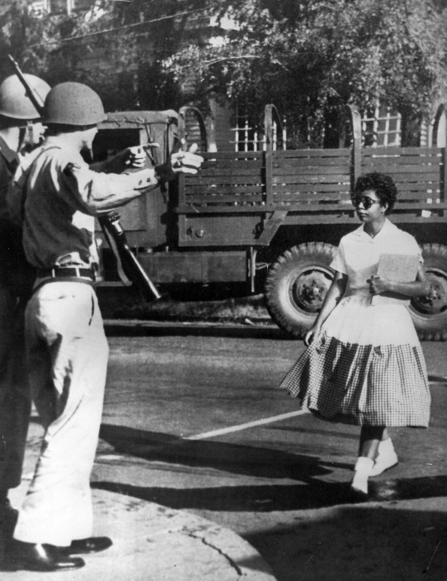 Elizabeth Eckford, desegregating Little Rock's Central High School, 1957