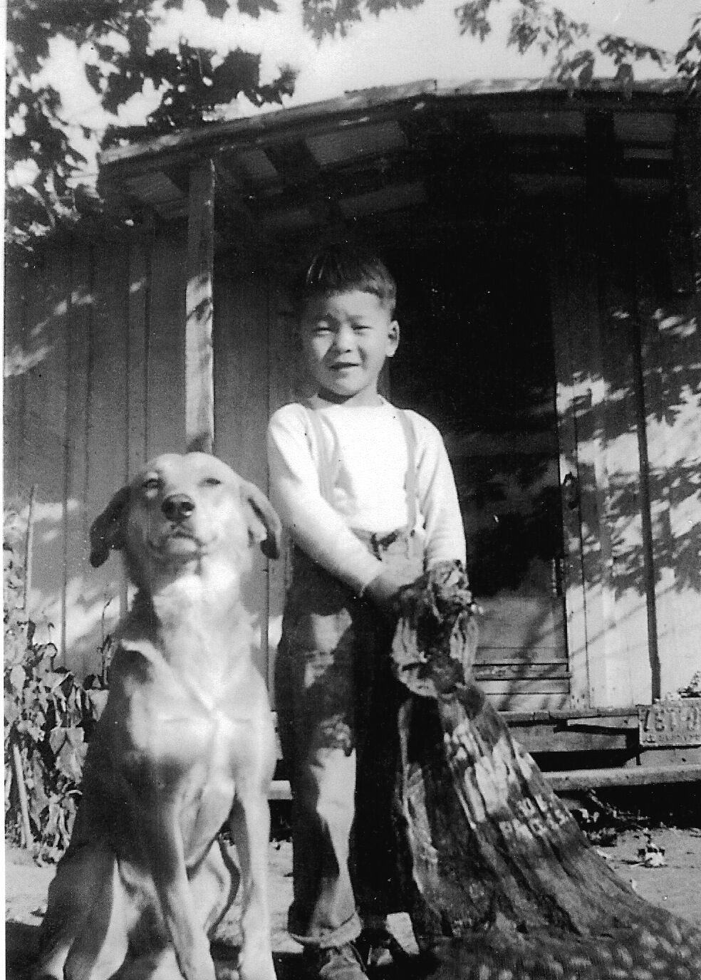 Rod Shingu and his dog. Scott, Arkansas circa 1950