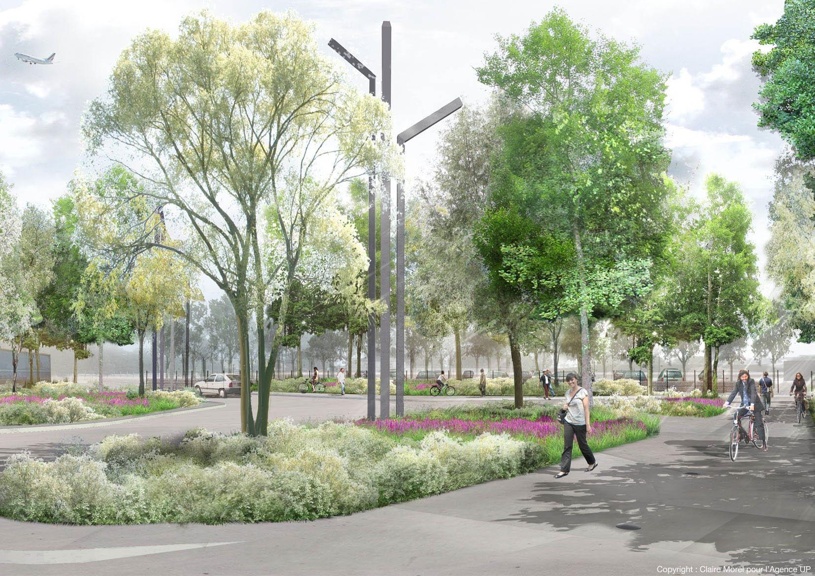 """L'aménagement des espaces publics de l'ancienne Base Aéronavale de Dugny s'inscrit dans une dynamique de développement intensifiée par les réflexions du """"Grand Paris"""", avec la création d'un pôle d'excellence économique (cluster aéronautique) et la densification du réseau de transports en commun (PEM du Bourget / Tangencielle Nord). Aujourd'hui la BAN assure la transition entre Aéroport Paris Le Bourget et le tissu pavillonaire de Dugny. Demain le projet doit permettre de créer les conditions optimales de valorisation du foncier libéré et créer un quartier actif.  L'enjeu de la requalification des espaces publics attenants à l'exBAN est double :  - Anticiper l'évolution de la trame urbaine et la mutation des espaces attenants. Au-delà de la connexion ou de la requalification de voies existantes, il s'agit de tisser des liens entre le quartier en devenir et le centre ville de Dugny.  - Révéler l'identité d'un site singulier, ancré dans l'histoire de l'aviation, permettre la réappropriation par les habitants d'un espace ouvert sur l'horizon et les terres lointaines mais jusqu'ici clos."""